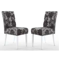 Catria Floral Dining Chair In Antique Grey White legs In A Pair