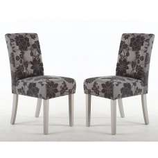 Catria Floral Dining Chair In Antique Grey In A Pair