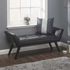 Cayman Chaise In Black Faux Leather With Wooden Feet