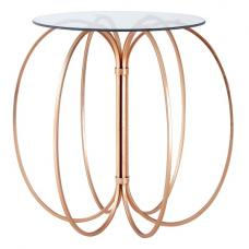 Celexa Side Table In Clear Glass Top With Rose Gold Frame