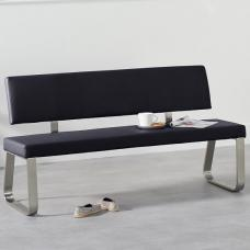 Celina Large Dining Bench In Black Faux Leather