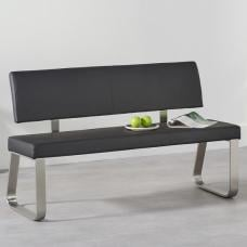 Celina Medium Dining Bench In Black Faux Leather