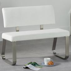 Celina Small Dining Bench In White Faux Leather