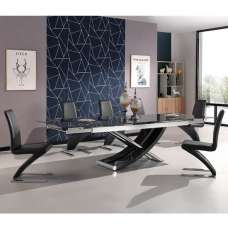 Chanelle Glass Extendable Dining Table With 6 Demi Black Chairs
