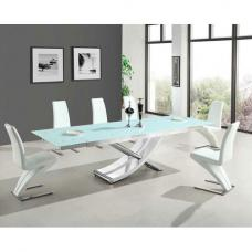 Chanelle Glass Extendable Dining Table And 6 Demi White Chairs