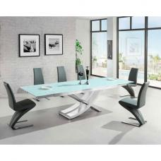 Chanelle Glass Extendable Dining Table And 6 Demi Grey Chairs