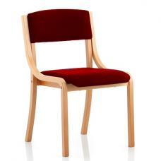 Charles Office Chair In Chilli And Wooden Frame