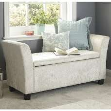 Charter Fabric Ottoman Seat In Oyster Crushed Velvet