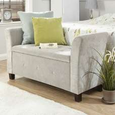 Charter Modern Fabric Ottoman Seat In Silver With Diamante