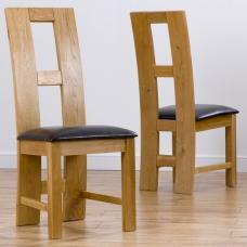 Chelsea Dining Chair In Brown PU With Oak Frame In A Pair