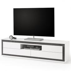 Chelsea Modern TV Stand In White With Concrete Inserts