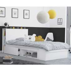 Chevron Wooden Childrens Bed In Matt White With 2 Drawers