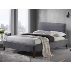 Chile Modern Fabric Bed In Grey With Wooden Legs