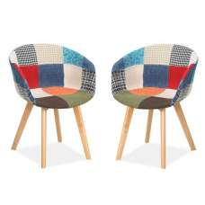 Chiro Dining Chairs In Patched With Wooden Legs In A Pair