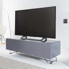 Claude Glass TV Stand In Grey High Gloss With Steel Frame