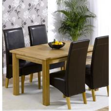 Cipriano Extending Oak Dining Table with Oak Veneer Panels
