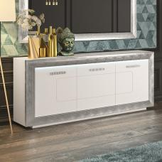 Claire Sideboard In White High Gloss With Steel Effect Border