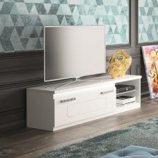 Claire TV Stand In White High Gloss And Steel Effect Border