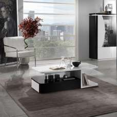 Clarus Coffee Table Rectangular In White And Black Gloss Lacquer