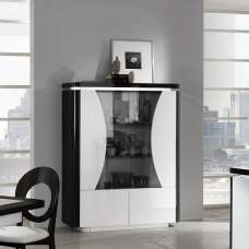 Clarus Display Cabinet In White And Black Gloss Lacquer With LED