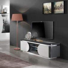 Clarus TV Stand In White And Grey Gloss Lacquer With LED