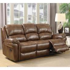 Claton Recliner 3 Seater Sofa In Tan Faux Leather