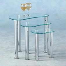 Katerina Clear Glass Nest of 3 Tables