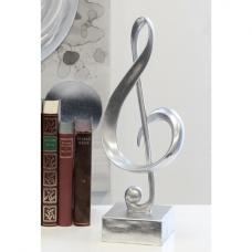 Clef Sculpture In Poly Antique Silver With Silver Base