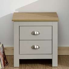 Click Wooden Bedside Cabinet In Grey And Oak With 2 Drawers