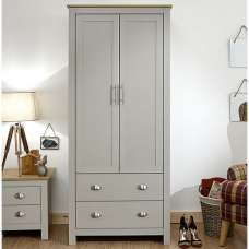 Click Wooden Wardrobe In Grey And Oak With 2 Doors