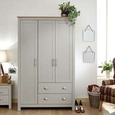 Click Wooden Wardrobe Wide In Grey And Oak With 3 Doors
