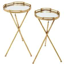 Clifden Mirrored Top 2 Nesting Tables With Gold Frame