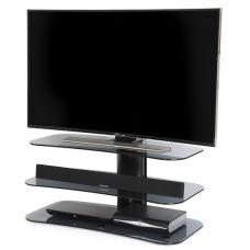 Coaster Glass TV Stand In Grey With Black Metal Column