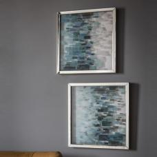 Cobalt Set Of 2 Framed Wall Art In Blue And Silver Hues