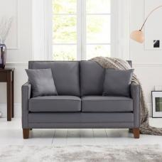 Cobalt 2 Seater Sofa In Grey Leather With Dark Ash Legs