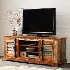 Coburg Wooden TV Stand In Reclaimed Wood With 2 Doors