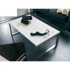 Luna Coffee Table In High Gloss White With Stainless Steel Legs