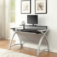 Cohen Curve Computer Desk In Black Glass And Grey Ash