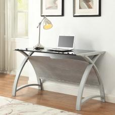 Cohen Curve Laptop Table In Black Glass Top And Grey Ash