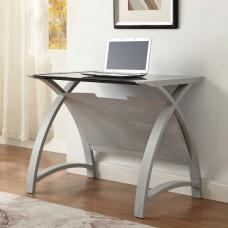 Cohen Curve Laptop Table Small In Black Glass Top And Grey Ash
