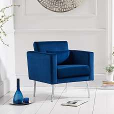 Colony Modern Accent Chair In Blue Velvet With Chrome Legs