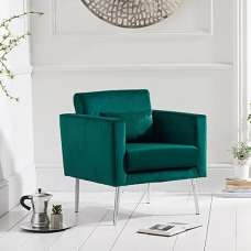 Colony Modern Accent Chair In Green Velvet With Chrome Legs