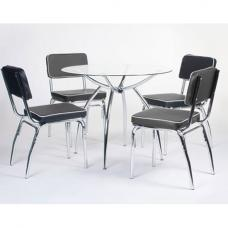 Retro Round Glass Dining Set with 4 Faux Lather Chairs