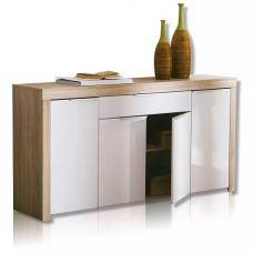 Comida Sideboard In Brushed Oak And White High Gloss Fronts
