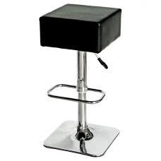Compton Bar Stool In Black Faux Leather With Chrome Base