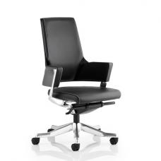 Cooper Office Chair In Black Bonded Leather With Medium Back