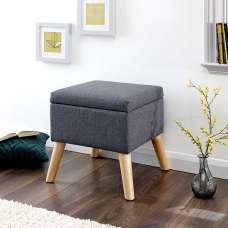 Copeland Small Fabric Storage Ottoman Unit In Charcoal