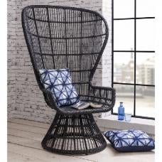 Copenhagen Lounge Chair In Woven Black Faux Weave