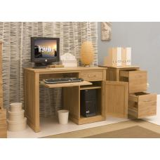 Artisan Single Pedestal Computer Desk In Oak With 1 Door