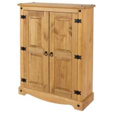 Corina Wooden Cupboard In Antique Wax Finish With Two Doors